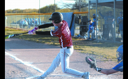Gabe Rogers hitting in one of his four RBIs.