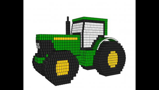 John Deere tractor constructed of cans