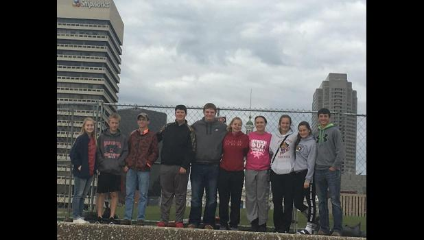 (Left to Right): Shelby Davies, Dustin Davies, Calvin Basham, Tyler Fitzwater, Levi Kincaid, Taylor Francis, Paityn Hall, Kennedy Stone, Kelsey Stone, and Keaton O'Dell