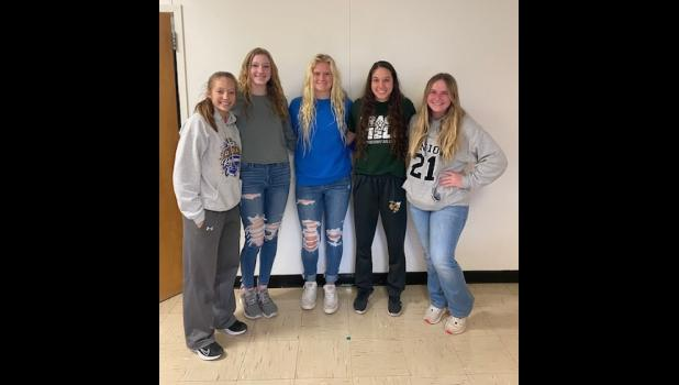 These five Lady Hornet softball players received post-season awards. L to R: Morgan Hartley, Madi Allen, Julia Kanoy, Brighton Swindler and Hayleigh Huff.