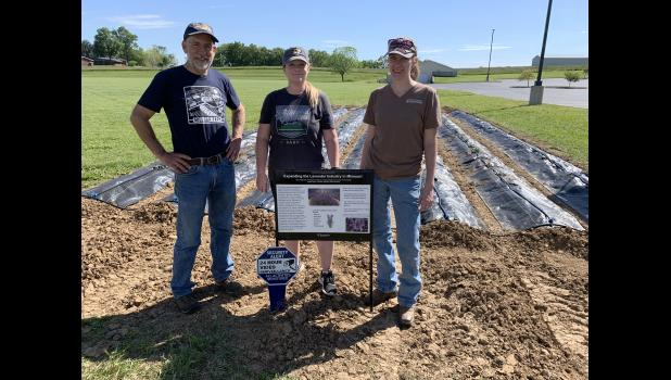 MU Extension in Ste. Genevieve is home to the first of three demonstration plots in the state to help develop standardized practices for growing lavender in Missouri. Pictured, from left: MU Extension horticulturists and project researchers Patrick Byers, Kelly McGowan and Kate Kammler.
