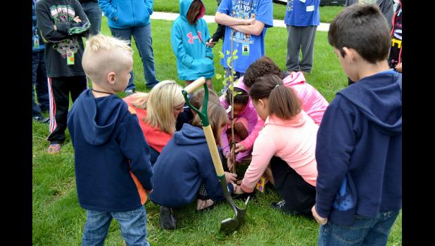 The Livingston County Power Clovers 4-H club planted a Liberty Tree at the historic Livingston County Courthouse grounds April 29, 2016, during the first year of the 4-H Liberty Tree project.