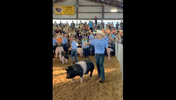 Levi Mense showing one of his pigs at the Lincoln County Fair in July 2021. Photo courtesy of Nancy Mense.