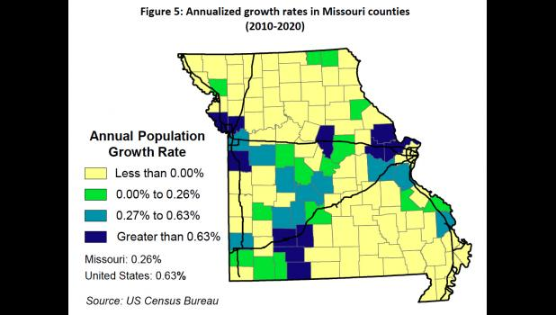 Annualized growth rates in Missouri counties (2010-2020). From 'Population Trends in Missouri and Its Regions' by Mark White, University of Missouri associate extension professor.