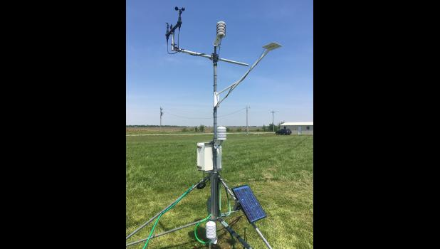 Nine Missouri weather stations, including this one at the Monroe City Regional Airport, recently received updates to help farmers and chemical applicators know when to spray herbicides to avoid off-target movement caused by temperature inversions. Photo courtesy of Pat Guinan