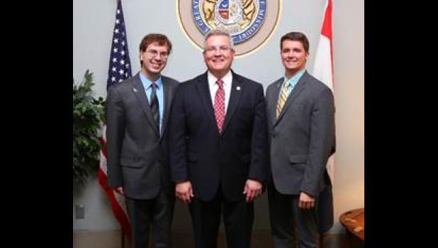 From left: Travis Leader, Sen. David Pearce and Kyler Cliffman.