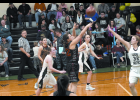 Senior Gabby Saul shoots for two.
