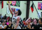 Austin Hall making 2 of his 22 points against North Andrew.