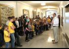 Senator Hoskins welcomes a group of grade school students from Hardeman R-10 school of Marshall to the Missouri State Capitol.